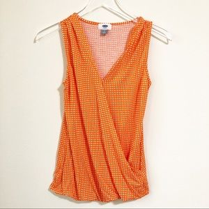 🌸 Old Navy | Orange patterned swoop front tank